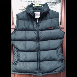 Vintage Guess Jeans Winter Puffer Down Vest Black